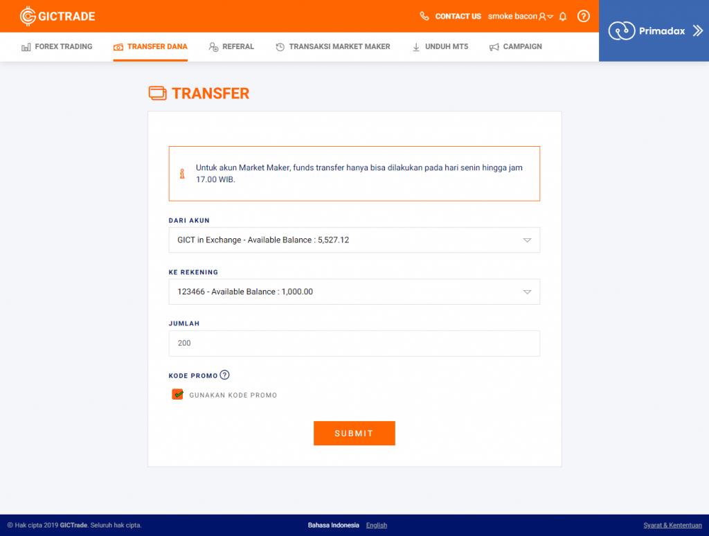 Tampilan Funds Transfer